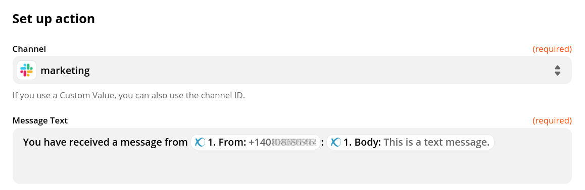 Zapier Slack Integration - Message Body